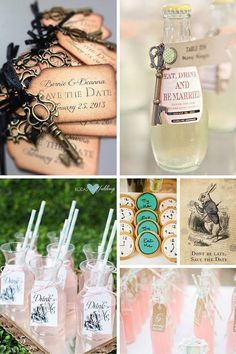 Disney themed wedding: Alice in Wonderland. 1- Save the Date ideas for a fairytale wedding. 2- A wedding favor your guests will not wan to leave behind 3- Whimsical wedding ideas for Disney-obsessed couples 4- Mad Hatter Tea Party Bridal Shower 5- An Alice in Wonderland White Rabbit Save-the-Date 6- How about this seating escort card beverage idea? Drink Me but I promise you won't shrink. :)