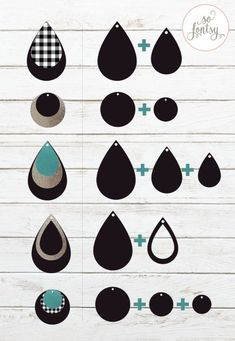 Gorgeous set of earring template SVG designs for Circut and Silhouette. Six earring svg cut files are included in this set along with an earring card design. Clay Jewelry, Jewelry Crafts, Jewlery, Diy Leather Earrings, Diy Earrings Fimo, Handmade Leather Jewelry, Wire Earrings, Teardrop Earrings, Crea Cuir