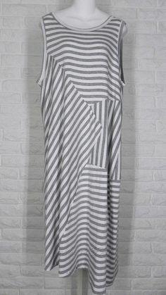 COMFY USA Jersey Knit Sharon Jumper Dress White Heather Grey Stripe NWT L XL #ComfyUSA #Tunic #Casual
