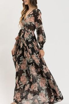 We love how flowy and romantic our Kathleen Black Floral Maxi Dress is! Cute Dresses, Beautiful Dresses, Casual Dresses, Summer Dresses, Formal Dresses, Flowy Bridesmaid Dresses, Black Floral Maxi Dress, Evening Dresses For Weddings, Maxi Dress With Sleeves