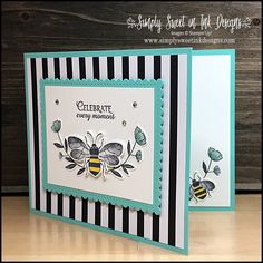 Celebrate Moments Bee Card The Golden Honey Designer Series Paper (DSP) really makes this adorable card pop! Check out this card and other projects in my Honey Bee class. Get this DSP FREE during Sale-a-Bration. Butterfly Cards, Flower Cards, Butterfly Template, Butterfly Dragon, Monarch Butterfly, Tarjetas Stampin Up, Happpy Birthday, Honey Bee Stamps, Bee Cards