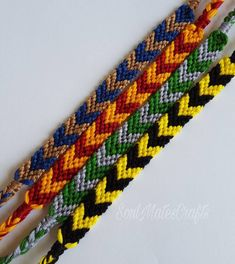 Chevron Pattern Friendship Bracelets Cotton Cord Bracelet Make A Wish Bracelet Embroidered Brace Diy Bracelets Patterns, Thread Bracelets, Diy Bracelets Easy, Embroidery Bracelets, Bracelet Knots, Bracelet Designs, Bijoux Harry Potter, Harry Potter Bracelet, Harry Potter Diy