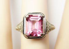 Vintage 14K White Gold 3 Carat Pink Spinel Filigree Ring Size 7.5