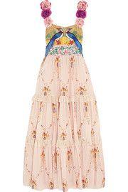 GucciAppliquéd silk-jacquard and printed cotton maxi dress