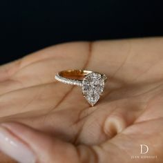 7fc8e6f0a CHELSEA, engagement ring set in 18K yellow gold with a 2.00+ carat pear  shaped diamond, handcrafted by Jean Dousset. #engagementring #engagement