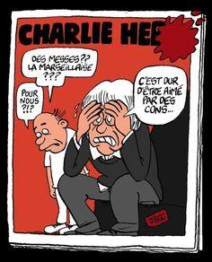 Hommage à Charlie Hebdo par le dessinateur JBGG, Libération. 7 au 9 janvier 2015.