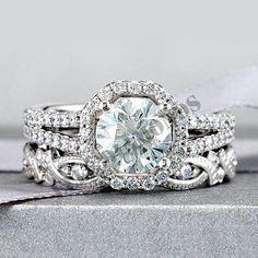 Round Diamond Bridal Engagement Set 14K White Gold Over Round Ring Band 2.25 CT #ElleDiamonds #BridalRingSet #Engagement