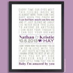 Papermints has captured the magic of a couples wedding song on a Custom Song Lyrics Poster. This typographic art print showcases the bride & grooms favorite song & the couples names & wedding date.