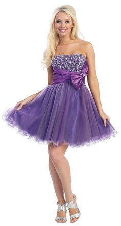 Joyce wants these!! :-D Purple And Lilac Strapless Tulle Beaded Bow Homecoming Dress - XS to 2XL