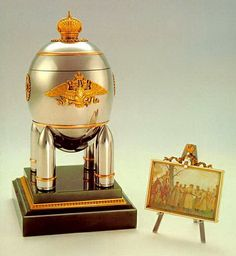 The Steel Military Egg, gold, steel, nephrite, 1916. Presented by Nicholas II to Tsarina Alexandra Fyodorovna. The Kremlin Armoury Museum, Moscow