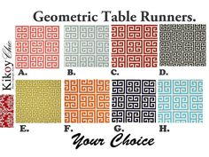 Geometric Table RunnerGeometric  Table by KikoyChic on Etsy, $15.00