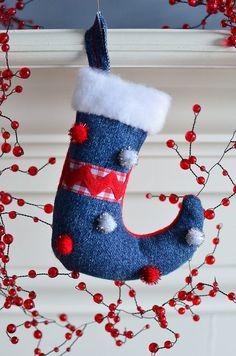 Upcycled Denim Stocking Ornament