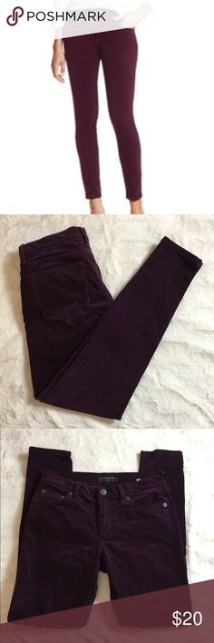 "Banana Republic factory plush Skinny Corduroy Pant Banana Republic factory Skinny plush corduroy pants.  Gorgeous eggplant color.  Excellent condition.  Size 26  Measures 14"" across top of waist.  Rise is 8.5"".  Inseam is 28""  Check out my other listings to bundle and save 🍑 Banana Republic Pants Skinny"
