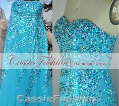 Prom dress, blue sequins, gorgeous.