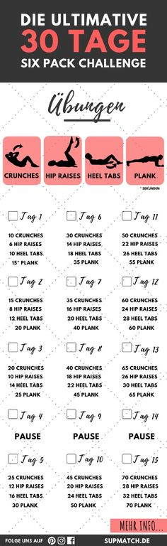 The ultimate 30 day six pack challenge for fitness beginners. - The ultimate 30 day six pack challenge for fitness beginners. Fitness Workouts, Fitness Herausforderungen, Ab Workouts, Fitness Legs, Exercises, Six Pack Challenge, 30 Day Workout Challenge, Belly Challenge, Challenge Ideas