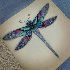 Floresta Encantada/ Libelula /Johanna Basford Dragonfly Tattoo Design, Tatoo Designs, Dragonfly Art, Compass Tattoo, Zentangle, Dragonfly Illustration, Just Ink, Cool Tats, Tattoo Parlors