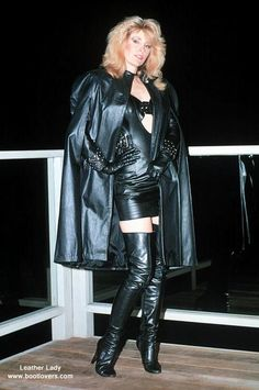 Can there ever be too much leather? Not when it includes a lustrous black cape and great boots.