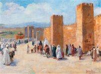 Devant les remparts de Fez by Gaston Jules Louis Durel