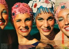 vintage swim hats  I remember having to wear bathing caps in all pools, no exceptions.  Loved the pretty ones, but was always stuck with the cheap boring ones that never were big enough for my waist length pigtails.