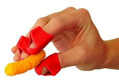 Finger Covers for Cheesy Greasy Sticky Fingers  Finger Food Utensil  Kitchen Prep Finger Guard 3ct Red