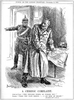 """""""A Chronic Complaint."""" Cartoon by Bernard Partridge. Published in Punch 2nd December 1914"""