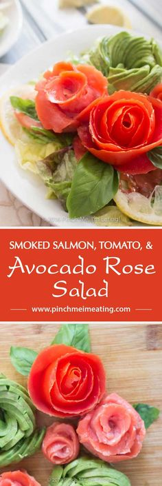 This salad makes a beautiful Valentine's Day appetizer for two! This surprisingly easy smoked salmon, tomato, and avocado rose salad showcases the flavors of each ingredient, brightened with a splash of lemon. | www.pinchmeimeating.com