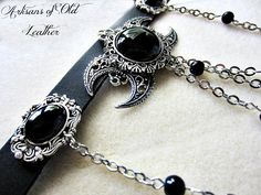 Gothic Triple Moon Black Leather Choker Black Onyx and
