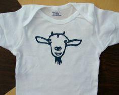 Linoleum Block Bearded Goat Baby Onesie