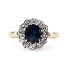 Impressive Victorian Era Unheated Sapphire Engagement Ring   Lone Hill from Trumpet