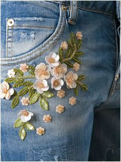 """DSQUARE2 """"Cool Girl"""" jeans embroidery detail"""