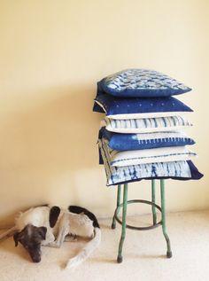 Cushion cover shibori natural indigo hand-dyed by TextileBlue
