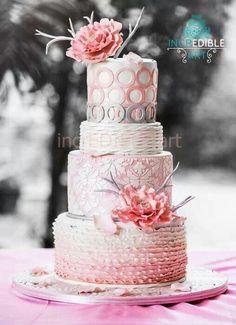 Multi-Textured Pink, White & Grey Wedding Cake