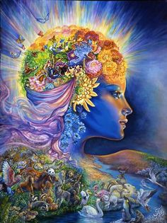 The Presence of Gaia    As a new dawn approaches Gaia emerges from our sleeping planet. The radiance of her aura lights up the heavens and her 'presence' gives confidence to the birds and animals to venture forth, secure in the knowledge that she will protect them. A river of life flows out to all corners of the earth, renewing and restoring. What greater 'present' could she give us!