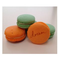 Chase your dreams, chase our orange creme and pistachio macarons ...  Design your dream macarons: www.swallowmywords.com