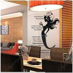 Amazon.com: Custom Color PopDecals - Mermaid - 47 inch tall - removable vinyl art wall decals for home decor: Home & Kitchen