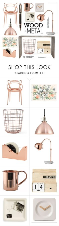 Copper and Wood office by kjvdolly ❤ liked on Polyvore featuring interior, interiors, interior design, home, home decor, interior decorating, Kartell, Rifle Paper Co, Menu and Tom Dixon