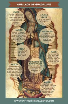 """Did you know about all the symbols in the image of Our Lady of Guadalupe? Catholic Doctrine, Catholic Quotes, Catholic Gifts, Catholic Prayers, Catholic Relics, Blessed Mother Mary, Blessed Virgin Mary, Catholic Pictures, Mama Mary"