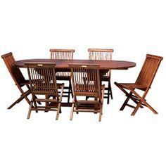 7 Pcs Teak Patio Outdoor Table Set 150 200 Cm Extendable Oval 6 Folding Chairs