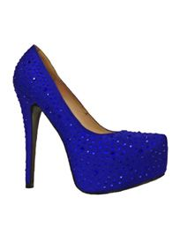 You will be the talk of your event in these rhinestone covered platform pumps.   Featuring a 5 1/4 in heel and 1 1/2 in platform.  Satin upper and manmade sole.  Imported. Sizzle by Coloriffics.