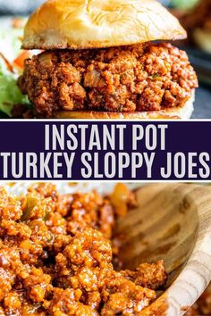 These Instant Pot Sloppy Joes are quick and easy to make, ready in only 30 minutes and a hit with everyone in the family from kids to adults. This classic dinner recipe is made healthier by swapping in ground turkey for beef. Top over a toasted bun for the perfect finish! Ninja Foodi, Instant Pot, stovetop and Crockpot Instructions included! Sloppy Joe Recipe With Ground Turkey, Ground Turkey Sloppy Joes, Recipes With Ground Turkey, Instant Pot Dinner Recipes, Easy Dinner Recipes, Easy Meals, Healthy Meals, Healthy Recipes, Top Crockpot Recipes