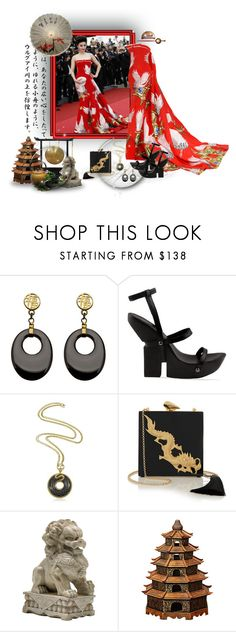 """""""Chyna Doll"""" by leanne-mcclean ❤ liked on Polyvore featuring UN United Nude, Just Cavalli, KOTUR and Cyan Design"""