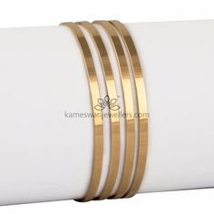 Elegant gold bangles collections by Kameswari Jewellers. Buy gold bangles online from South India's finest goldsmiths with 9 decades of expertise. Plain Gold Bangles, Gold Bangles Design, Gold Earrings Designs, Gold Jewellery Design, Silver Bracelets, Bangle Bracelets, Ruby Bangles, Bridal Jewellery, Necklace Designs