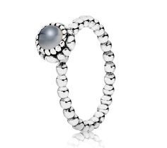 Pandora Silver & Grey Moonstone June Birthstone Ring 190854MSG at John Greed Jewellery