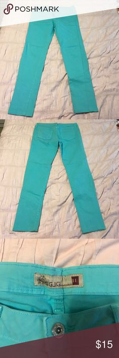 Light blue Jeans. GJG GJG baby blue/turquoise Jeans. Fits like a medium/size 27 or 28 GJG Jeans Straight Leg