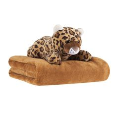 """Give the perfect gift to your little one. The gift set includes a cuddly, soft 50"""" x 60"""" plush throw in solid ivory. The set includes a cute Cheetah stuffed animal. Your child will love playing and cuddling with this wonderful gift set."""