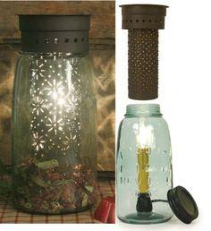 Half Gallon Mason Jar Tart Warmer Punched Flowers in Rustic Brown