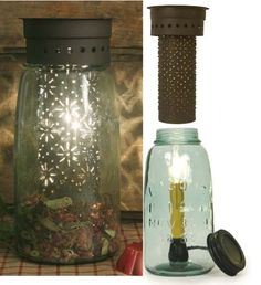Half Gallon Mason Jar Tart Warmer Punched Flowers in Rustic Brown