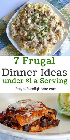 Saving money can be a struggle. But with these simple frugal dinner ideas you can keep your food cost lower and still feed your family well. I've included a bonus tip that helps to keep our food cost lower too. Frugal Meals, Budget Meals, Easy Meals, Frugal Recipes, College Recipes, Freezer Meals, Baking Recipes, Crockpot Recipes, Cooking For A Crowd