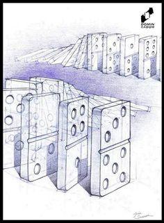 Domino bricks by Julia Szablewska made in DOMIN Radom drawing school / Kostki domina wykonane przez Julię Szablewską w szkole rysunku DOMIN Radom  https://www.facebook.com/DominRadom