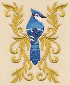 Baroque Blue Jay design (M11848) from www.Emblibrary.com
